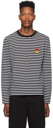 Ami Alexandre Mattiussi Black and White Striped Smiley Edition Long Sleeve T-Shirt