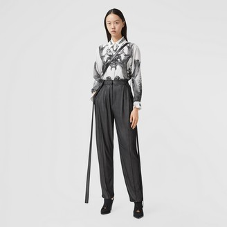 Burberry Strap Detail Chiffon and Jersey Tailored Trousers