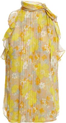 Veronica Beard Dali Ruffle-trimmed Floral-print Silk-blend Georgette Top