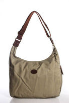 Longchamp Beige Brown Canvas Strap Medium Hobo Handbag