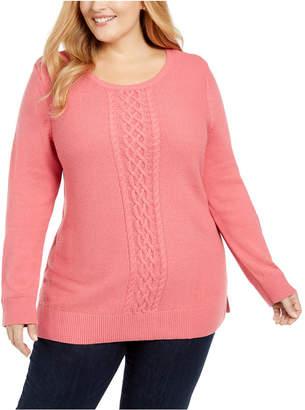 Karen Scott Plus Size Cable-Knit Trimmed Sweater