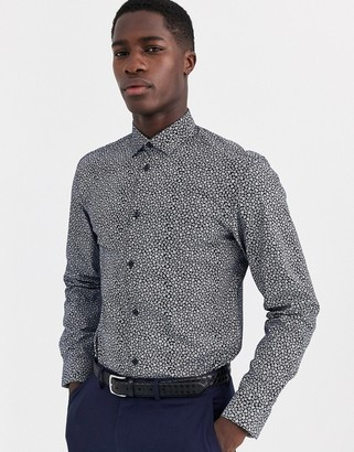 Selected slim fit floral ditsy print shirt in navy