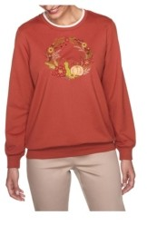 Alfred Dunner Women's Fall Wreath Embroidered Top