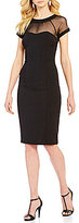 Leslie Fay Sweetheart Neck Cap Sleeve Illusion Scuba Crepe Sheath Dress