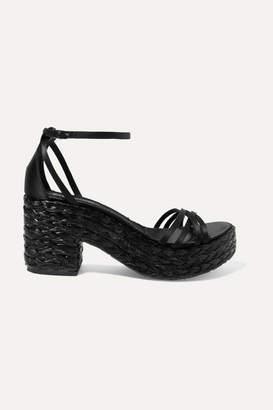 Pedro Garcia Dee Silk-satin And Woven Raffia Platform Sandals - Black
