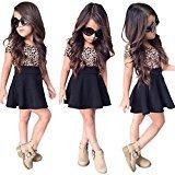 SMTSMT 2017 Baby Girls Leopard Printing Short Sleeveless Dress (5T, Black)