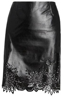 Dries Van Noten Lasercut Leather Pencil Skirt
