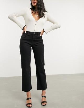 Asos Design DESIGN High rise 'effortless' stretch kick flare jeans in black
