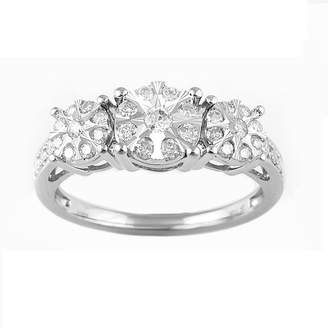 FINE JEWELRY Womens 1/2 CT. T.W. Genuine White Diamond 10K White Gold 3-Stone Engagement Ring
