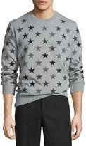 Givenchy Allover Star-Embroidered Sweatshirt, Gray