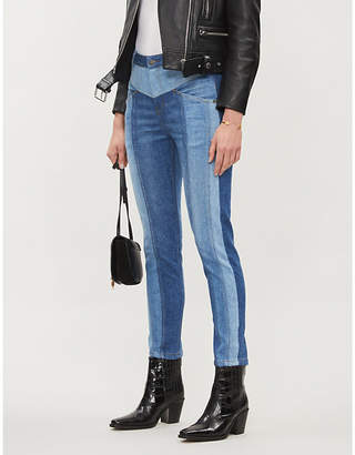 The Kooples Contrast-panel mid-rise slim-fit jeans