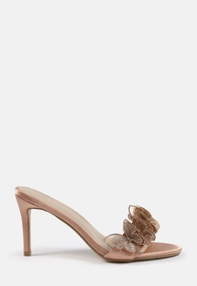 Missguided Champagne Butterfly Low Heel Mules