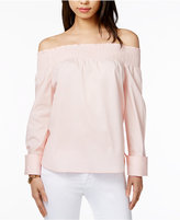 Tommy Hilfiger Smocked Off-The-Shoulder Top, Only at Macy's