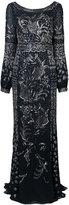 J. Mendel embellished drape back gown