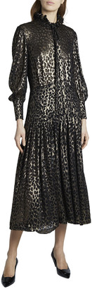 Saint Laurent Metallic Leopard Ruffle Bow-Tie Midi Dress