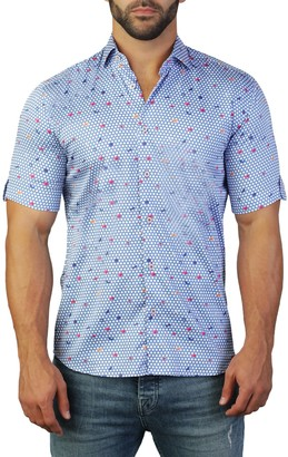 Maceoo Galileo Short Sleeve Butterfly Print Tailored Fit Dress Shirt