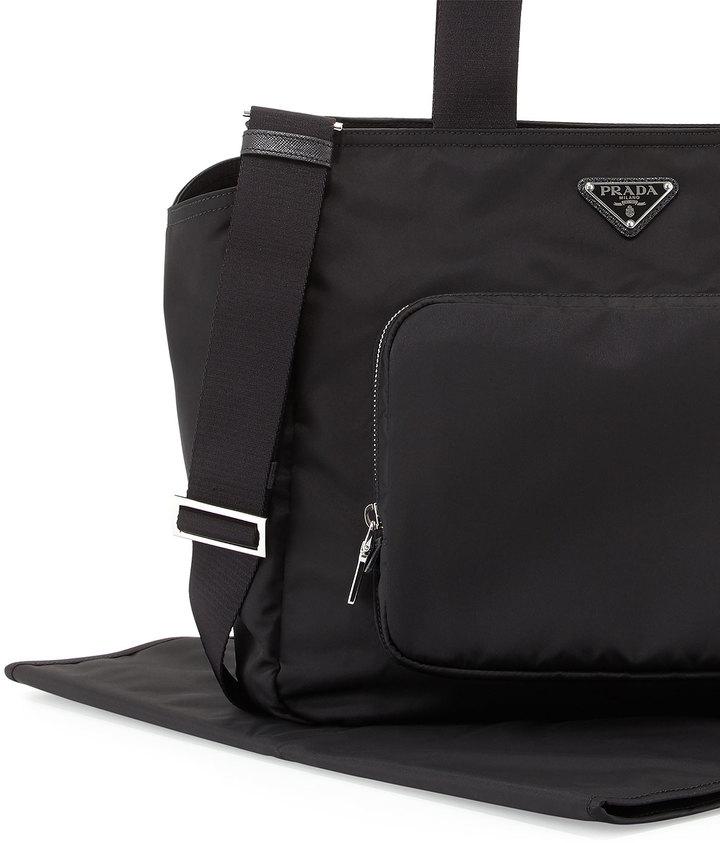 Prada Vela Nylon Baby Bag, Black (Nero)