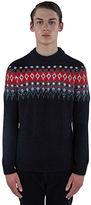 Saint Laurent Men's Sequin Intarsia Knitted Sweater In Black
