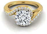 Ice 1 1/5 CT TW Diamond 14K Gold Wave Engagement Ring, IGI Certified