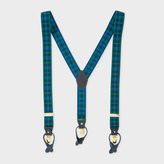 Paul Smith Men's Green And Blue Check Braces