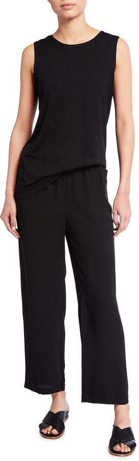 Thumbnail for your product : Eileen Fisher Straight-Leg Silk Georgette Crepe Ankle Pants