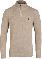Lyle & Scott Zip Neck Pebble Marl Wool Knit Sweater