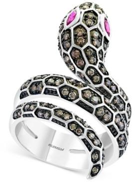 Effy Espresso Diamond (3/4 ct. t.w.) & Ruby (1/5 ct. t.w.) Snake Statement Ring in 14k White Gold