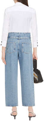Current/Elliott Cropped Belted High-rise Wide-leg Jeans