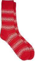 Barneys New York Men's Fair Isle Mid-Calf Socks-RED
