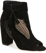 Jessica Simpson 'Kailey' Feather Charm Peep Toe Bootie (Women)