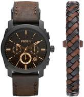 leather cuff watch shopstyle uk fossil machine watch and leather cuff mens gift set