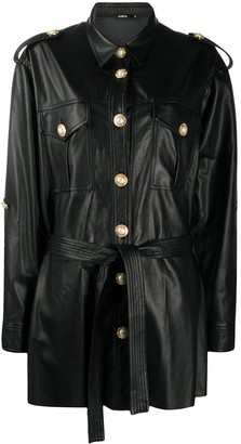 Amen Pearl-Embellished Faux-Leather Jacket
