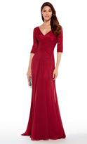 Alyce Paris - 27234 Quarter Sleeves Lace Chiffon A-line Gown