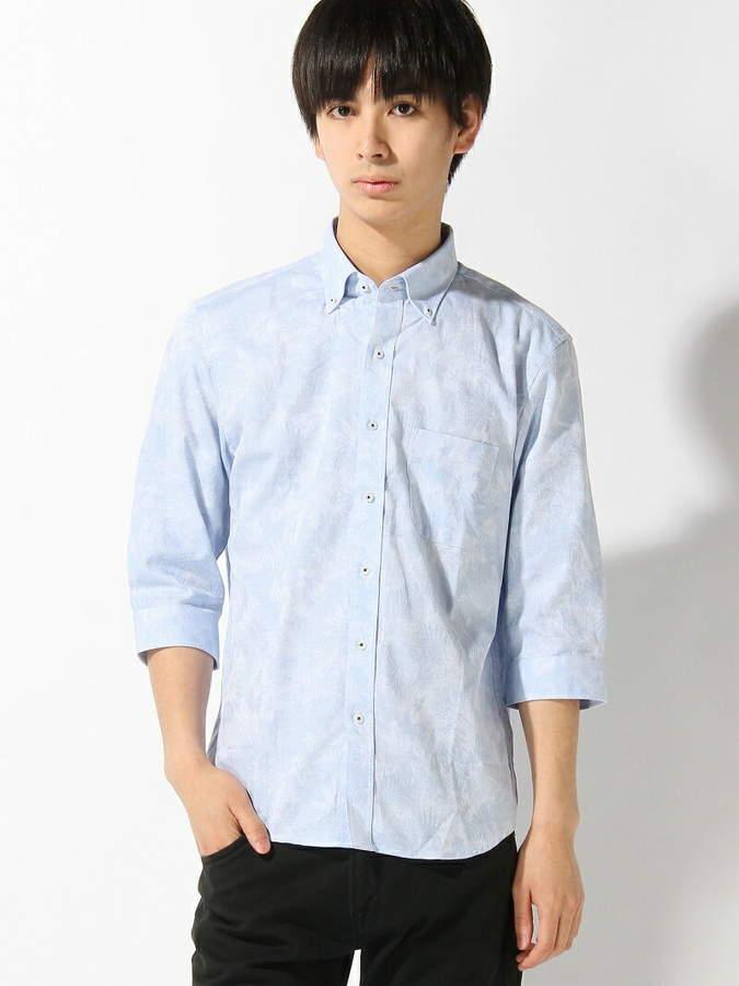 ボタニカルジャガードシャツ 7 分袖/リネン混 メンズ ビギ シャツ/ブラウス