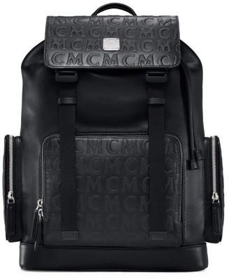 MCM Brandenburg Monogram Visetos Logo-Embossed Leather Backpack