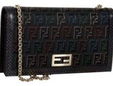 black zucchino jacquard wallet with chain strap