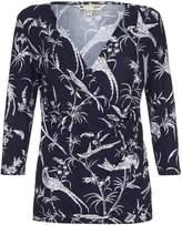 Yumi Bird Print Wrap Top