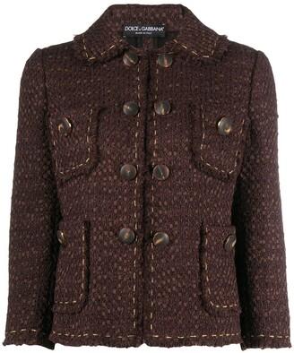 Dolce & Gabbana Cropped-Sleeve Tweed Jacket
