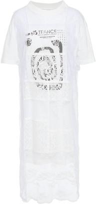 McQ Layered Printed Jersey And Mesh-paneled Lace Dress