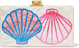 Edie Parker Jean Scallop Marbled Acrylic Box Clutch