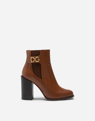 Dolce & Gabbana Calfskin Nappa Ankle Boots With Logo