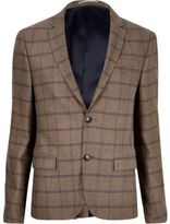 River Island Mens Ecru checked cropped skinny suit jacket