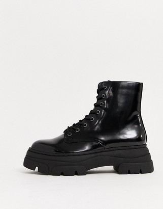 Stradivarius patent chunky sole lace up boots in black
