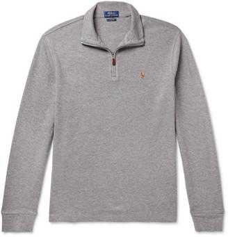 Polo Ralph Lauren Melange Cotton-Jersey Half-Zip Sweater