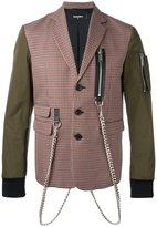 DSQUARED2 blazer effect bomber jacket - men - Cotton/Calf Leather/Polyester/Virgin Wool - 46