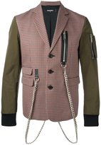 DSQUARED2 plaid blazer jacket - men - Cotton/Calf Leather/Polyester/Virgin Wool - 46