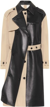 Rokh Leather and cotton trench coat