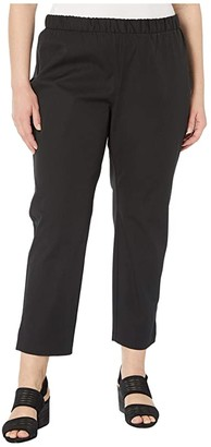 Eileen Fisher Plus Size Mid-Rise Ankle Pants w/ Slits (Black) Women's Clothing