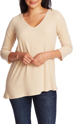 Chaus Ribbed Brushed Jersey Zip Shoulder Top