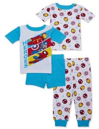 Marvel Super Hero Adventures Toddler Boy Short Sleeve Snug Fit Cotton Pajamas, 4pc Set